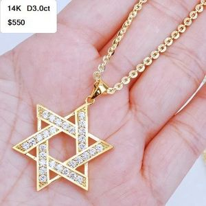 Handcrafted Jewelry - 3ct Gold Diamond Hexagonal Star Necklace Pendant